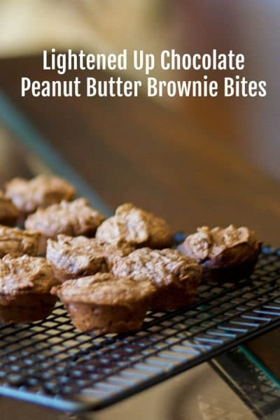 Treat yourself with theseLightened Up Chocolate Peanut Butter Brownie Bites made with brownie mix, egg whites, applesauce and creamy peanut butter. At only 75 calories each, I'll bet you can't eat just one!