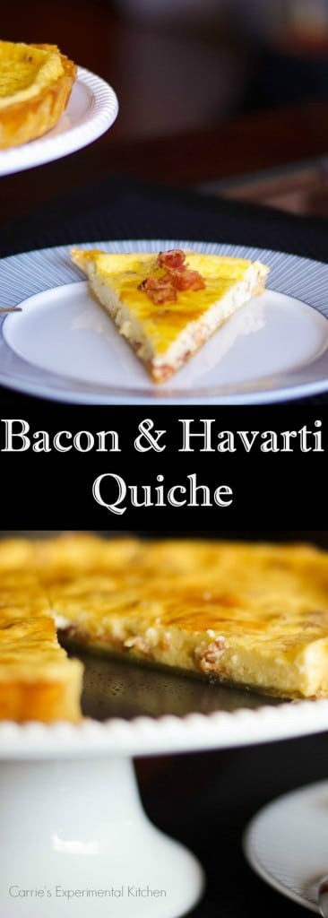 Quiche, like this onemade withfarm fresh eggs, bacon and Havarti cheese is so versatile and perfect for breakfast, lunch or dinner. #quiche #eggs #bacon