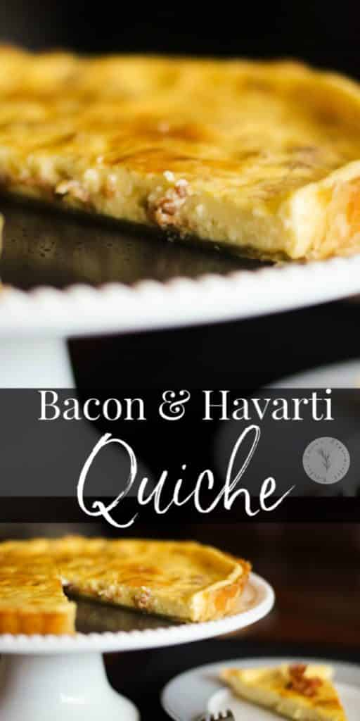 Quiche, like this onemade withfarm fresh eggs, bacon and Havarti cheese is so versatile and perfect for breakfast, lunch or dinner.