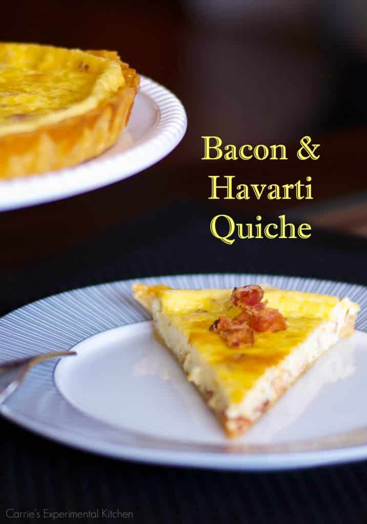 Quiche, like this onemade withfarm fresh eggs, bacon and Havarti cheese is so versatile and perfect for breakfast, lunch or dinner. #eggs #quiche #bacon