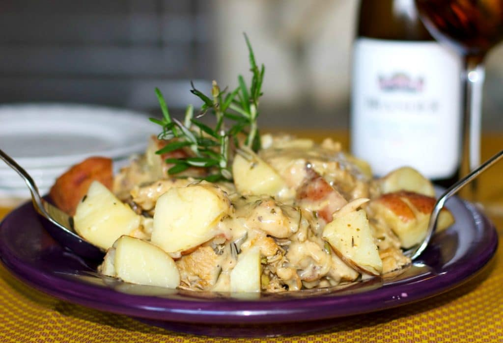 Braised Chicken and Red Potatoes in a White Wine Rosemary Sauce