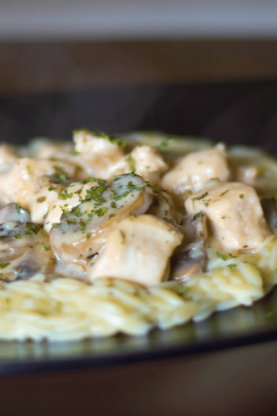 This healthier version of the classic stroganoff is made with boneless chicken breasts, mushrooms and reduced fat sour cream. Dinner is ready in 30 minutes!