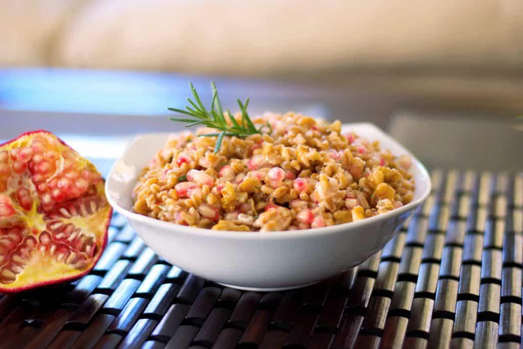 Italian Farro Salad with Pomegranate, Goat Cheese and Walnuts
