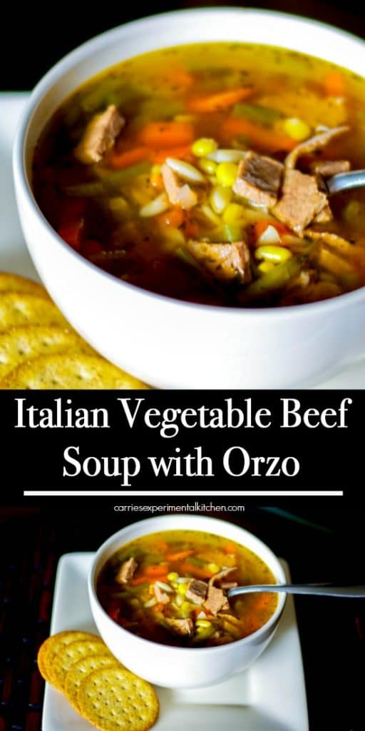 Italian Vegetable Beef Soup with Orzomade with leftover Sunday dinner roast beef, vegetables like green beans, carrots, and corn in a light beef broth.