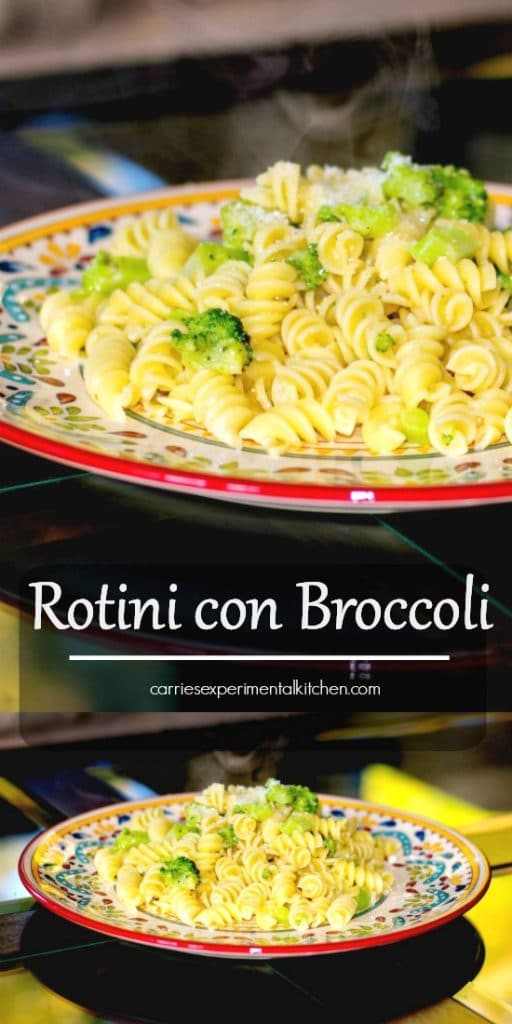 Rotini con Broccoli is a simple weeknight meal made with rotini pasta, broccoli florets, garlic, and grated Pecorino Romano cheese.