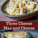 This Three Cheese Mac & Cheese is so creamy. It's made with Velveeta, Asiago and Pecorino Romano cheeses; then baked until hot and bubbly.