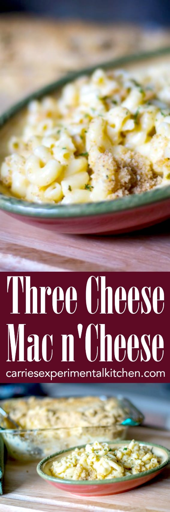 This Three Cheese Mac n' Cheese is so creamy. It's made with Velveeta, Asiago and Pecorino Romano cheeses; then baked until hot and bubbly. #pasta #casserole #cheese