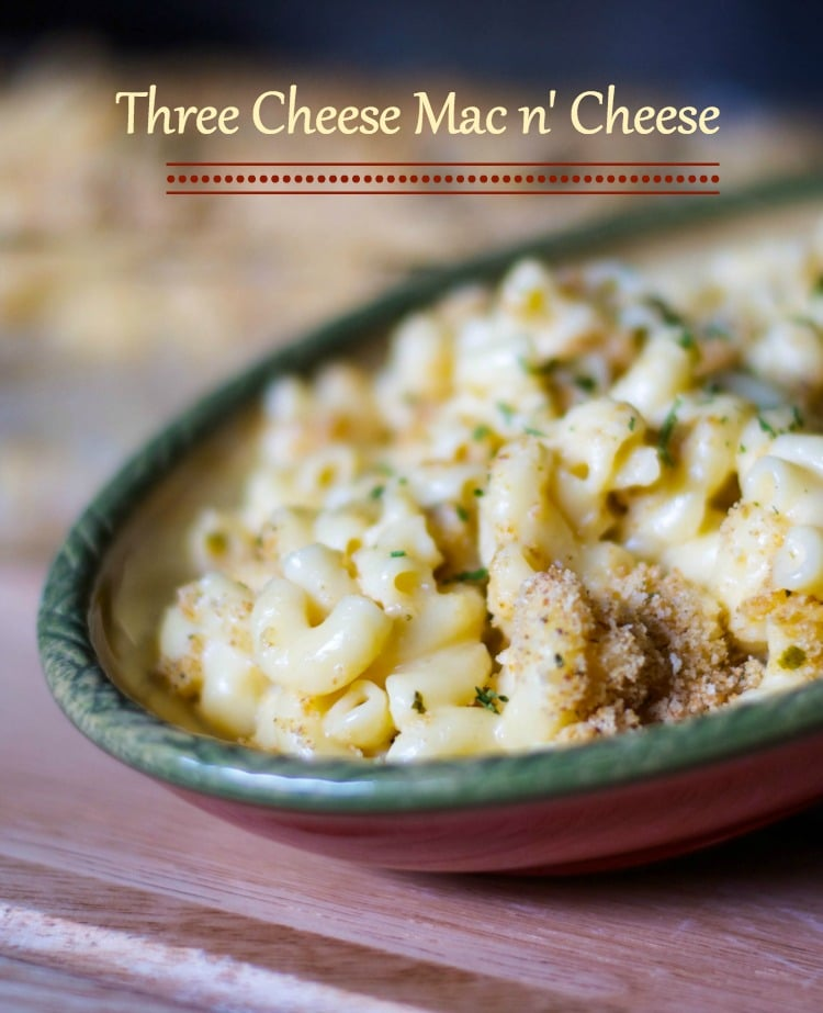 This Three Cheese Mac n' Cheese is so creamy. It's made with Velveeta, Asiago and Pecorino Romano cheeses; then baked until hot and bubbly.