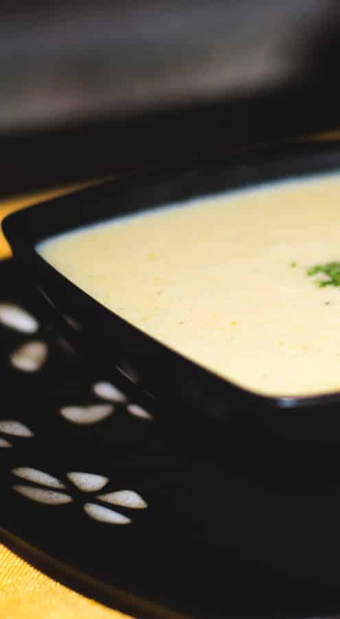 Light and creamy soup using leftover Thanksgiving turkey; then thickened with milk instead of cream for a reduced fat alternative.