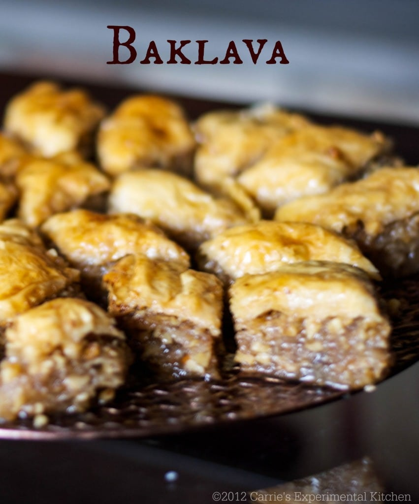 Baklava is a sweet pastry layered with phyllo dough, chopped nuts, then topped with syrup or honey.