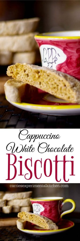 Cappuccino White Chocolate Biscotti combines the favorite Italian, crunchy cookie and cappuccino all in one. Perfect for snacking or holiday gift giving.
