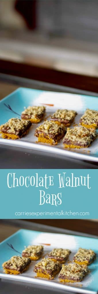 Chocolate Walnut Bars made with semi-sweet chocolate, sweetened condensed milk, butter, and walnuts on a graham cracker crust.