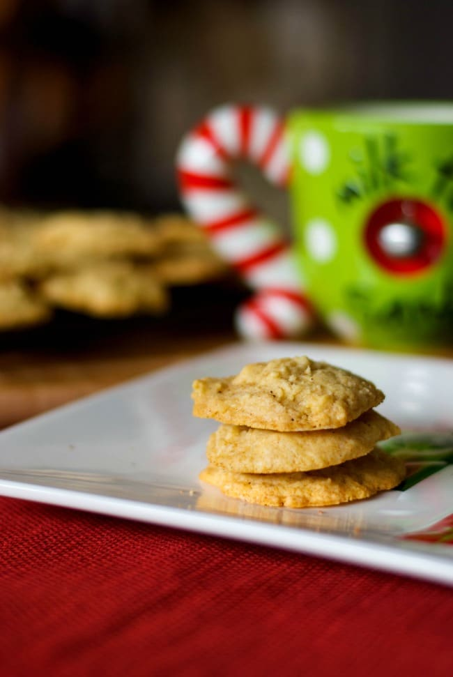 "Don't forget to leave a plate of cookies out on Christmas Eve. The ""big guy"" looks forward to these soft and chewy Eggnog Cookies, made with creamy eggnog, cinnamon and nutmeg every year."