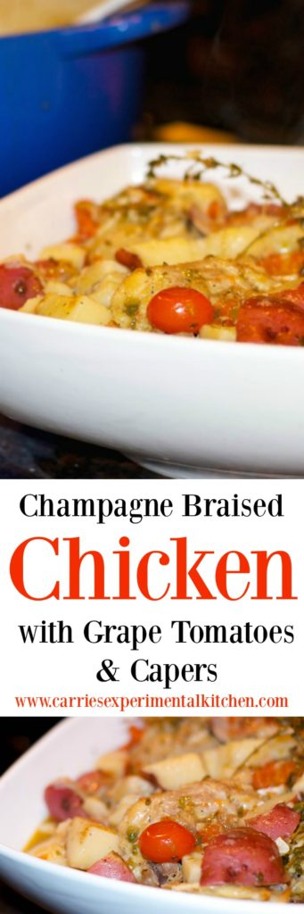 To assist with my menu planning, I find it helps to make one-pot meals like this Champagne Braised Chicken during the day so that we can quickly reheat and eat on the go since we never seem to all be home at the same time.