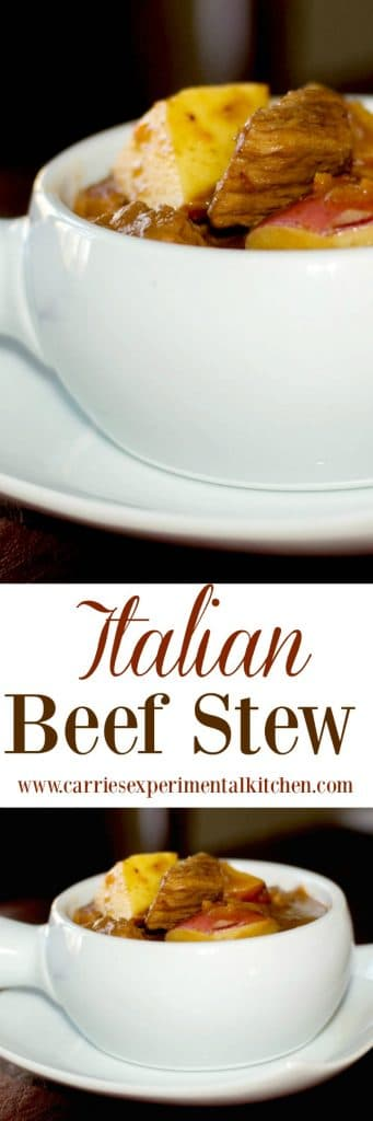 Hearty Italian Beef Stew made with slowly simmered beef, vegetables, potatoes and red wine is comfort food at it's best. Serve alone or over egg noodles.