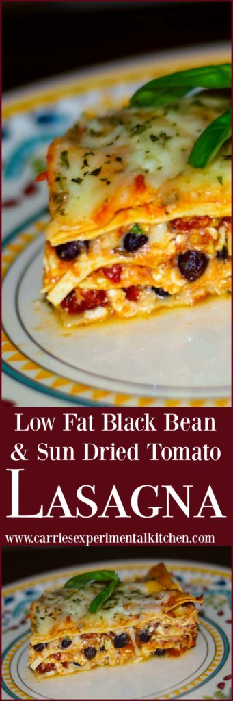 This hearty Low Fat Black Bean & Sun Dried Tomato Lasagna is made with low fat cottage and mozzarella cheeses, but don't worry, you'll never miss the extra calories!