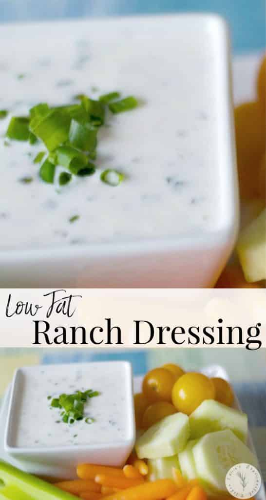 Low Fat Ranch Dressing made with buttermilk, Greek yogurt, mayonnaise and cider vinegar. Serve with your favorite salad or use as a dip for crudités!