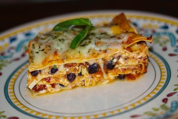 Low Fat Black Bean Sun Dried Tomato Lasagna
