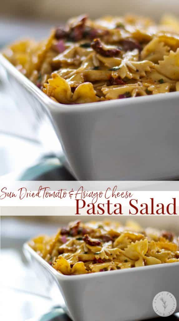 Sun Dried Tomato & Asiago Cheese Pasta Salad made with bow tie pasta, oil packed sun dried tomatoes, freshly shredded Asiago PDO cheese.