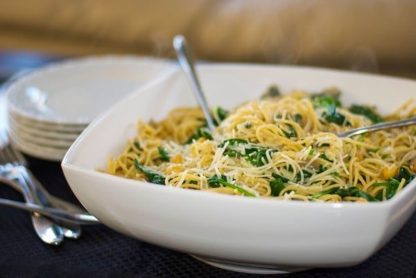 Whole Grain Spaghetti with Chick Peas and Spinach