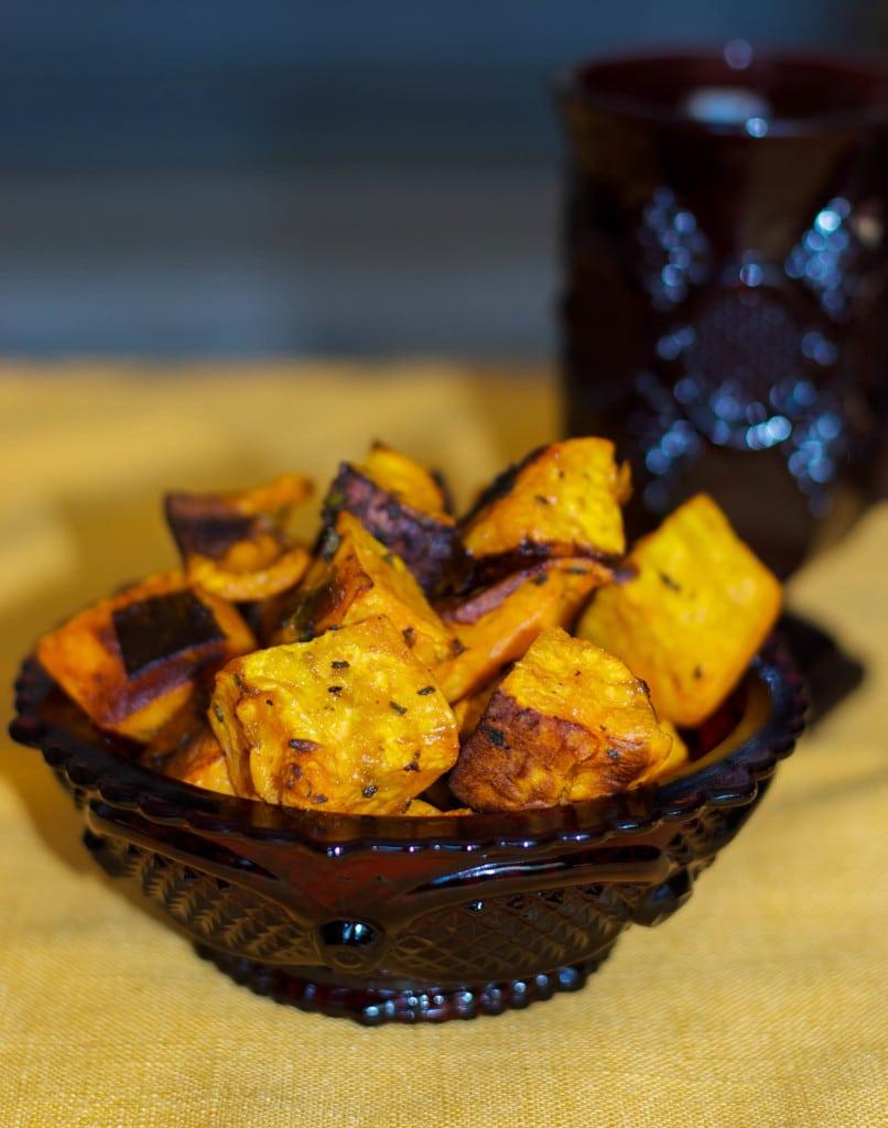roasted sweet potatoes with sage and leeks