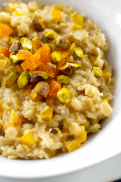 Oatmeal for breakfast is so deliciously satisfying; especially when you add dried apricots, pistachios and honey. It's a great start to your day!