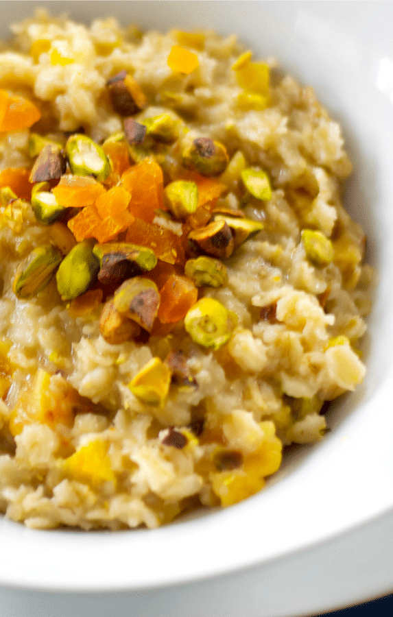 Oatmeal for breakfast is so deliciously satisfying; especially when you add dried apricots, pistachios and honey.It's a great start to your day!