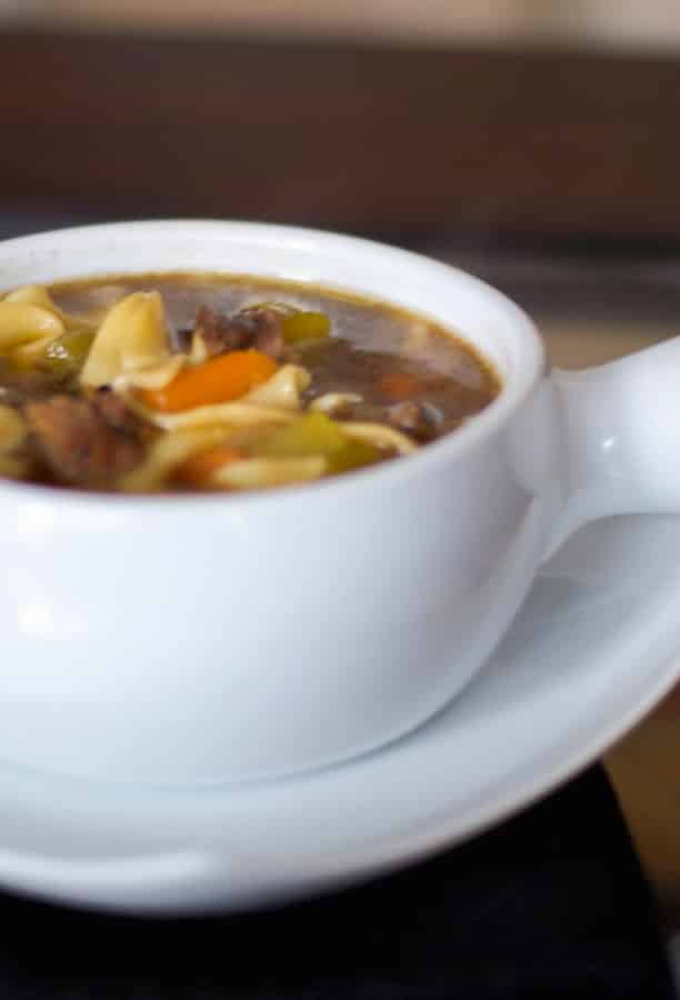 Making homemade Beef Noodle Soup is a great way to utilize Sunday dinner's leftover roast beef or steak. It's a hearty soup that's perfect for lunch or dinner!