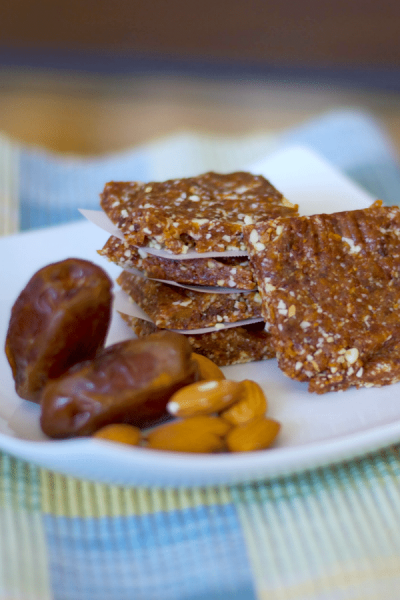 Energy Bars made with Medjool dates, raw almonds and dried cherries are a healthy, gluten free satisfying snack.