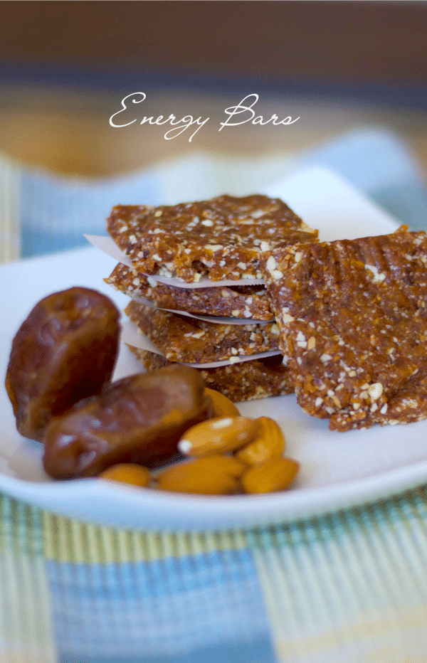nergy Bars made with Medjool dates, raw almonds and dried cherries are a healthy, gluten free satisfying snack.