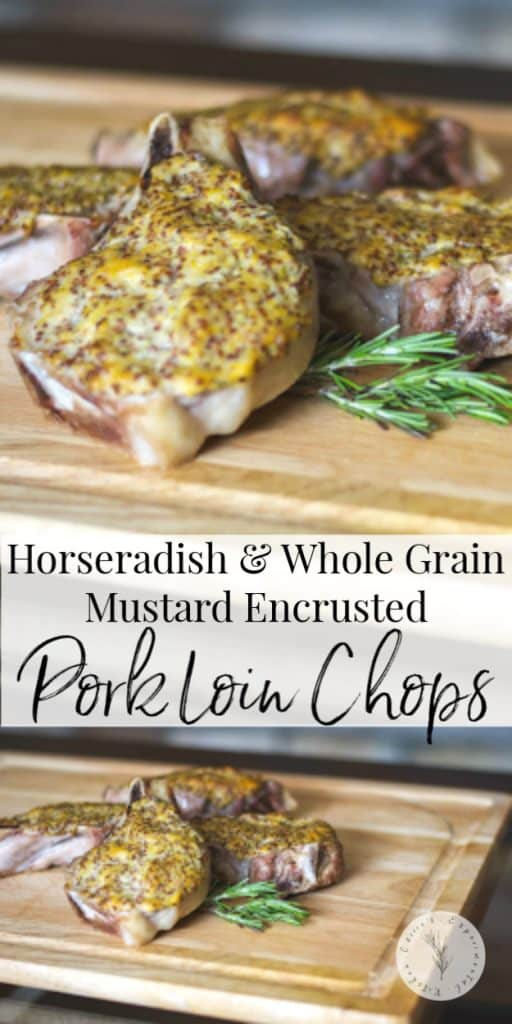 A simple coating consisting of prepared horseradish, whole grain mustard and rosemary that adds a ton of flavor to these pork chops. Goes perfectly on fish or chicken too!