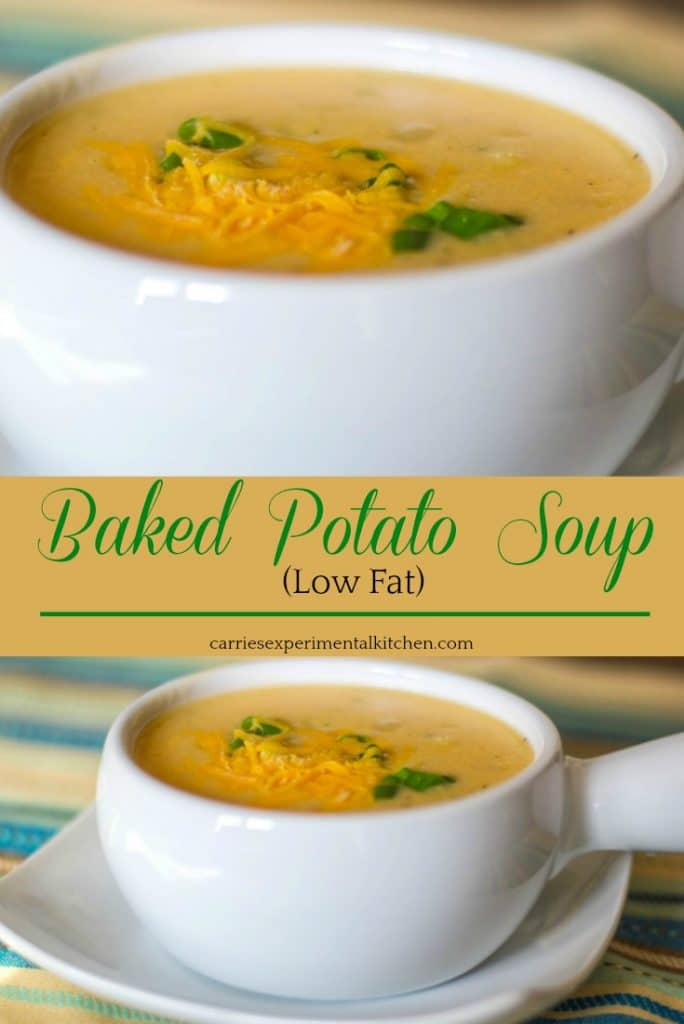 We love this Low Fat Baked Potato Soup made with Russet potatoes, scallions, skim milk, vegetable broth and fat free Cheddar cheese. It's perfect for lunch or dinner!