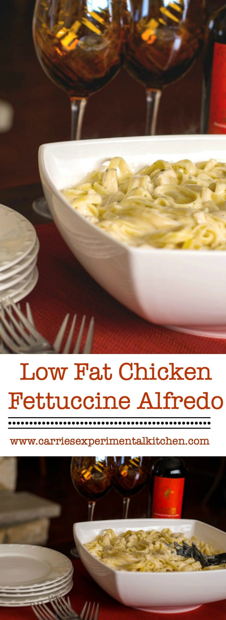Try making one of your favorite meals a little healthier, without losing the flavor with this Low Fat Chicken Fettuccine Alfredo.