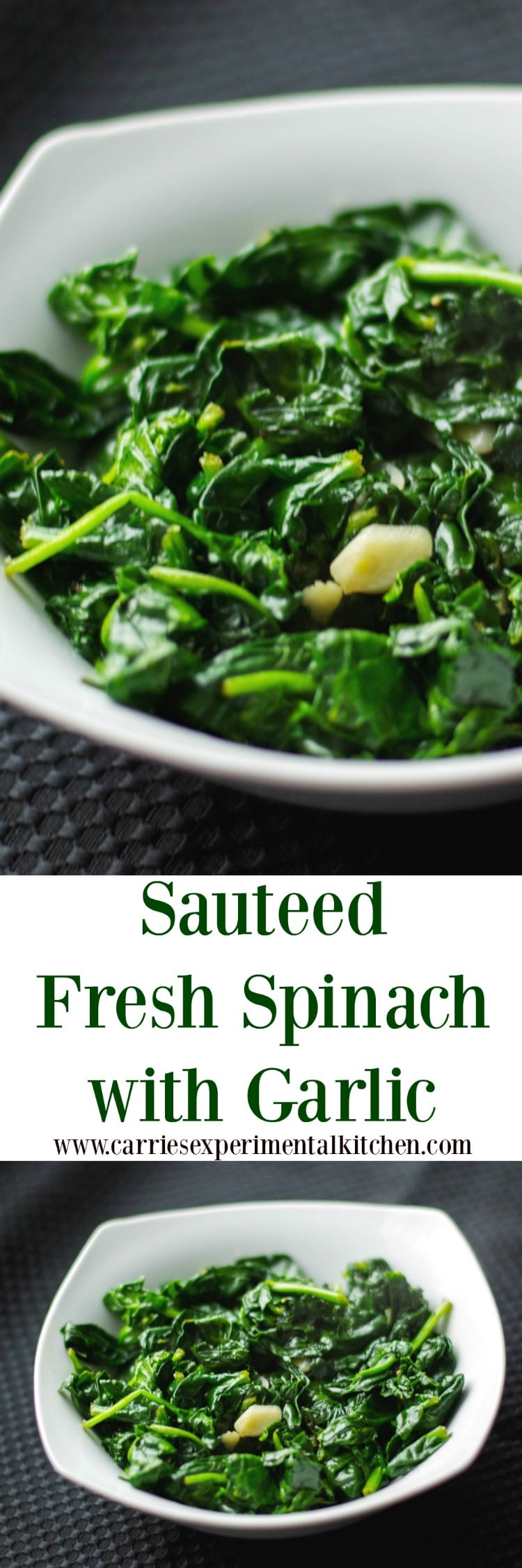 Fresh baby spinach sautéed with extra virgin olive oil and garlic; then lightly seasoned with salt and pepper.  #spinach #garlic #vegetable #vegetarian