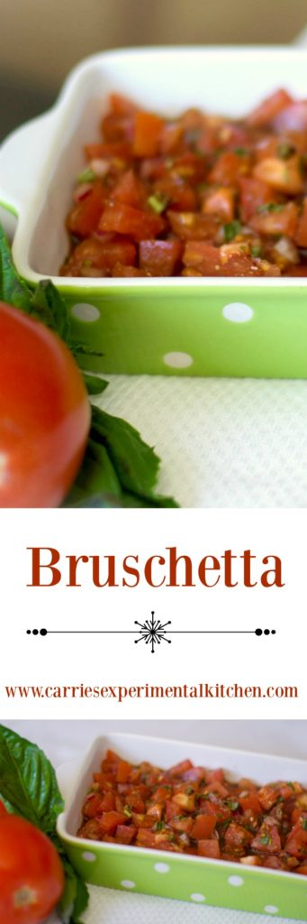 Bruschetta made with fresh garden tomatoes, basil, onion, garlic and cheese in a balsamic vinaigrette makes a delicious appetizer or afternoon snack.