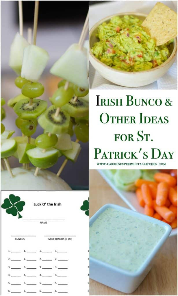 Celebrate St. Patrick's Day with fun, green colored food including printables to host your next Irish Bunco or St. Patrick's Day celebration.