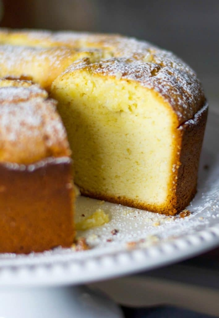 Lemon Cream Cheese Poundcake is deliciously moist cake that goes perfectly with a cup of tea for an afternoon snack or eaten for breakfast.