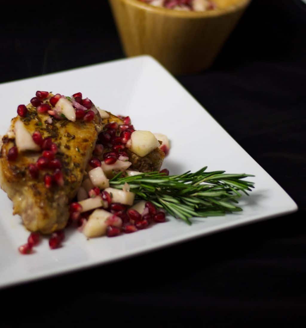 Pan Seared Pork with Pear and Pomegranate Salsa
