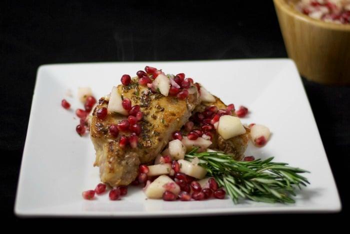 Pan Seared Pork with Pear & Pomegranate Salsa