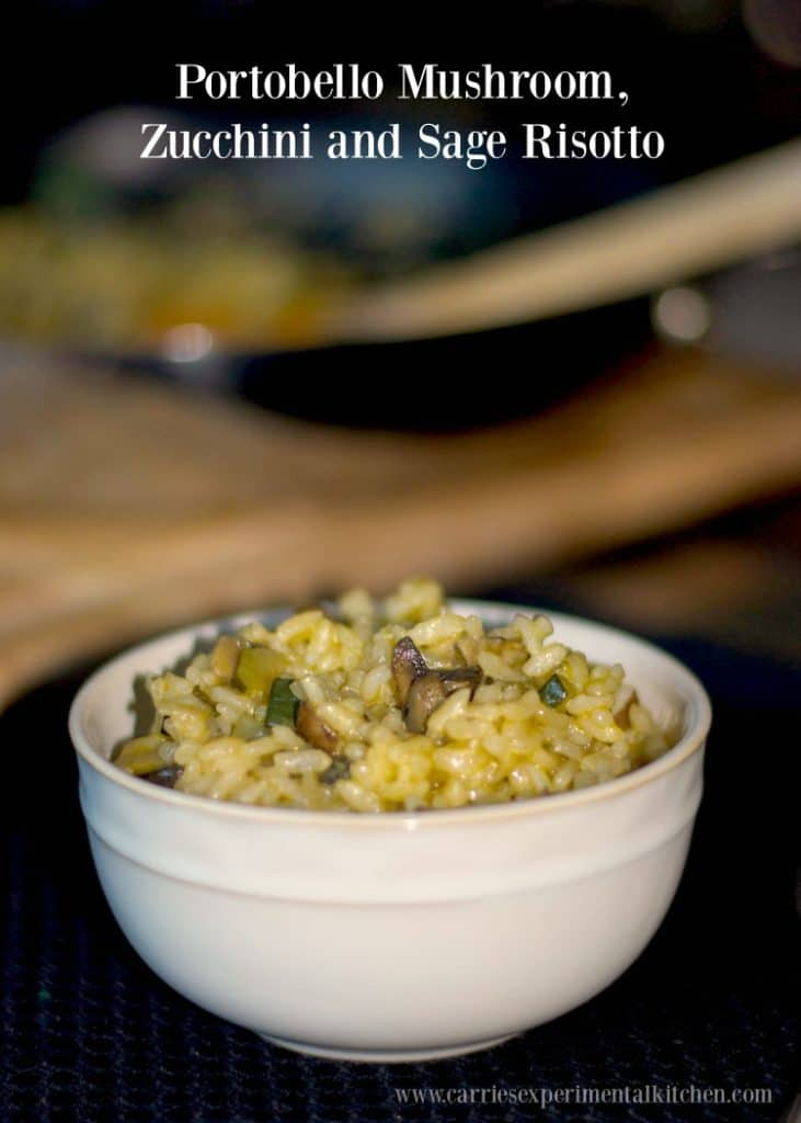 Creamy risotto blended with portobello mushrooms, zucchini and fresh sage is the perfect side dish for Fall.