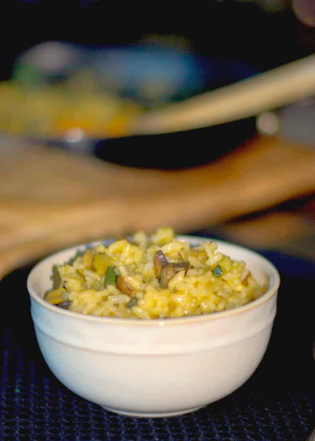 Creamy risotto; which is an Italian rice, blended with portobello mushrooms, zucchini and fresh sage is the perfect side dish for Fall.