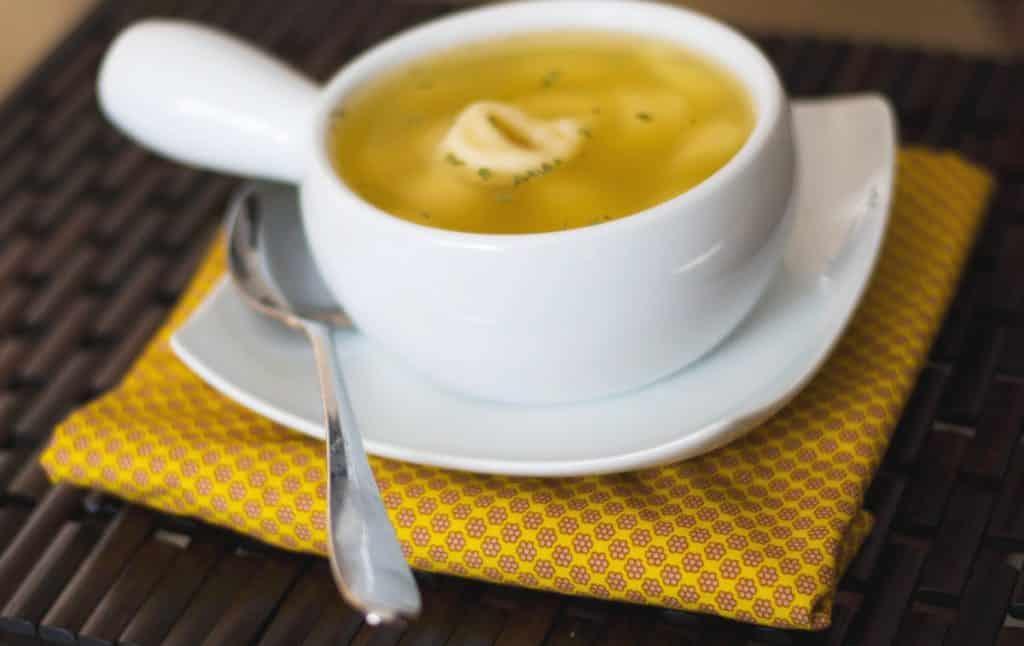 Tortellini en Brodo Soup in a crock