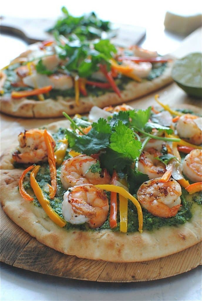 Shrimp Naan Pizzas