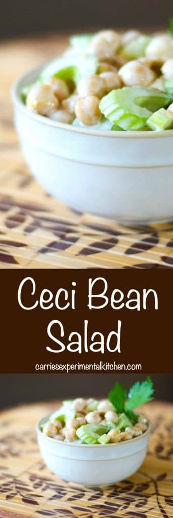 This Ceci Bean Salad made with chick peas and celery in a mayonnaise based dressing is simple to prepare and makes a tasty side picnic salad.