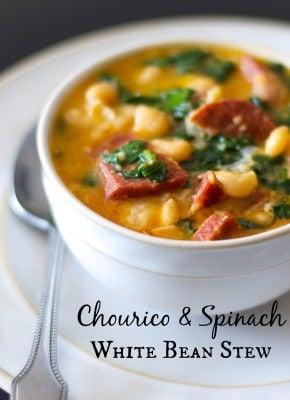 Chorizo & Spinach White Bean Stew | Carrie's Experimental Kitchen #chourico #pork #stew