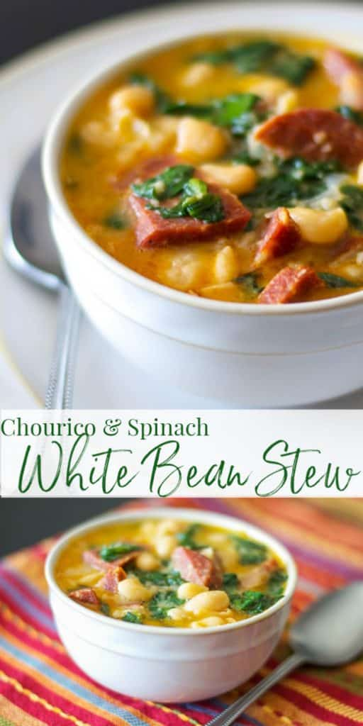 Chourico and Spinach White Bean stew has a slight smoky flavor and is made with fresh spinach, garlic and Cannellini beans.