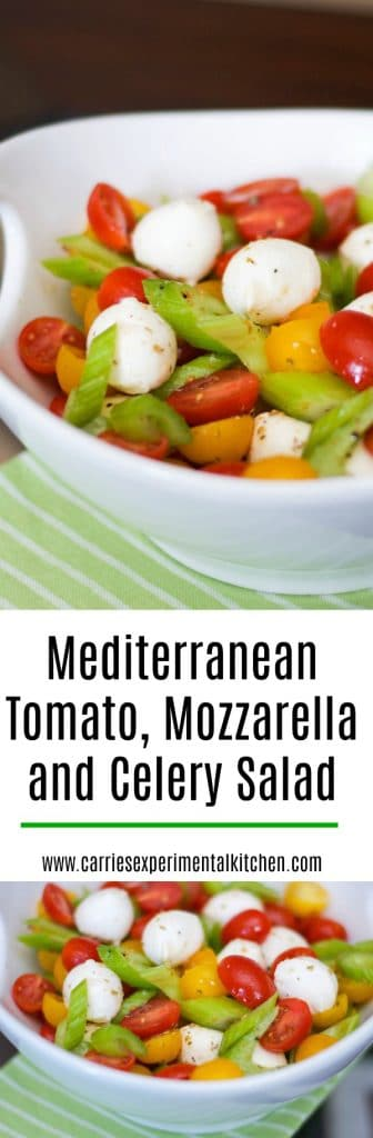 This Mediterranean Tomato, Mozzarella and Celery Salad is a twist on one of my favorites and I just love the crunch the crisp celery adds; not to mention the gorgeous color.