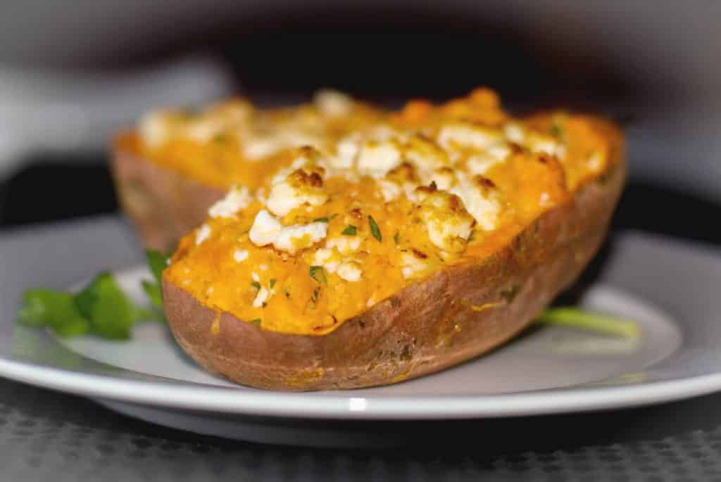 Twice Baked Greek Sweet Potato
