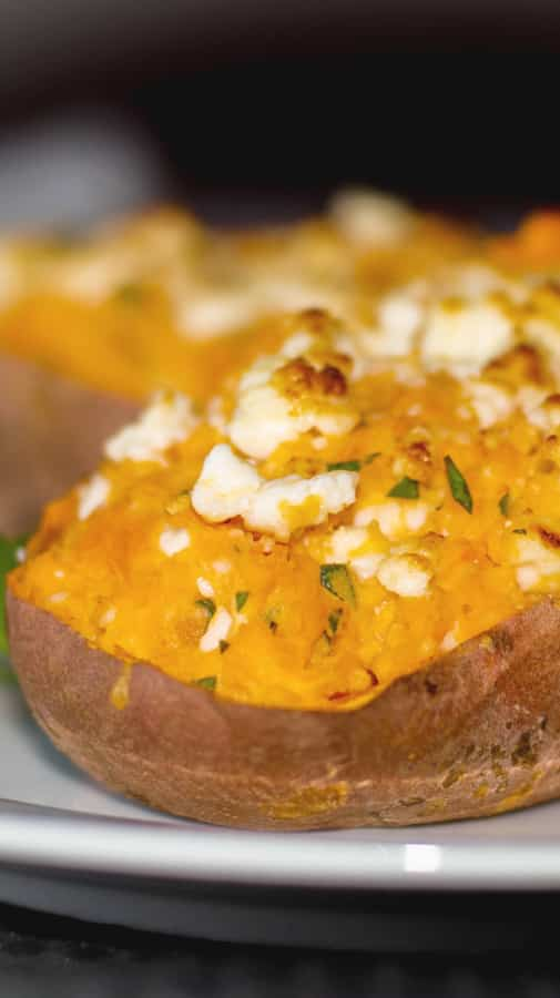 My Big Fat Greek Sweet Potato made with twice baked sweet potatoes stuffed with Feta cheese, Greek yogurt and oregano makes a tasty side dish all year long.