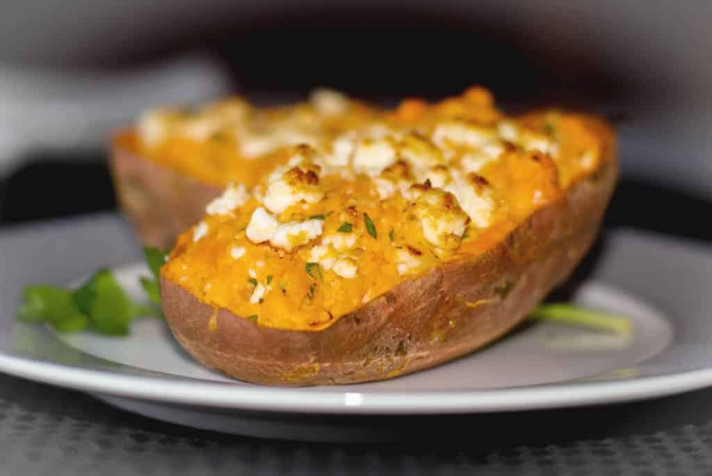 Twice Baked Greek Sweet Potato